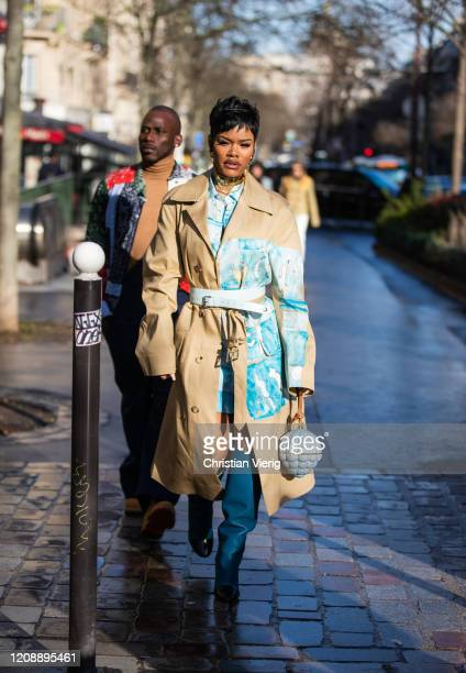 Teyana Taylor is seen outside Lanvin during Paris Fashion Week Womenswear Fall/Winter 2020/2021 : Day Three on February 26, 2020 in Paris, France.