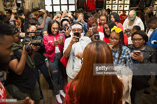 b1a7a2c50ff Teyana Taylor launches her Reebok Question Mid  Teyana T  Sneaker at Villa  on October