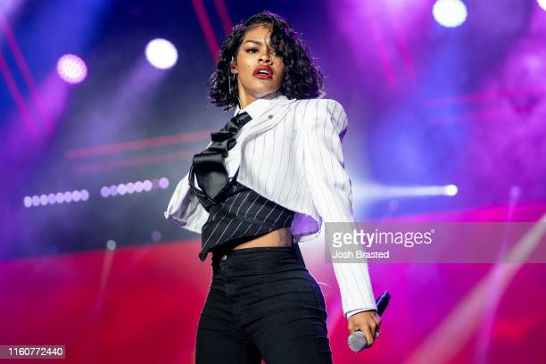 Teyana Taylor performs at the 25th Essence Festival at the Mercedes-Benz Superdome on July 07, 2019 in New Orleans, Louisiana.