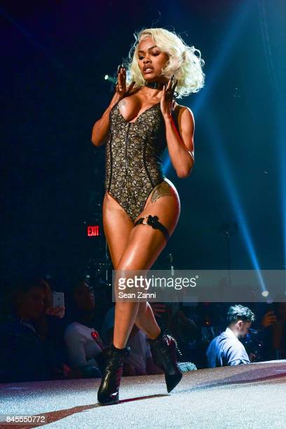 Teyana Taylor performs at the Philipp Plein fashion show during New York fashion week at Hammerstein Ballroom on September 9 2017 in New York City