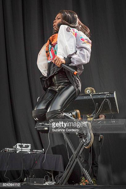 Teyana Taylor performs during the Chris Brown 'One Hell of a Night Tour' at the Austin360 Amphitheater on September 9 2015 in Austin Texas