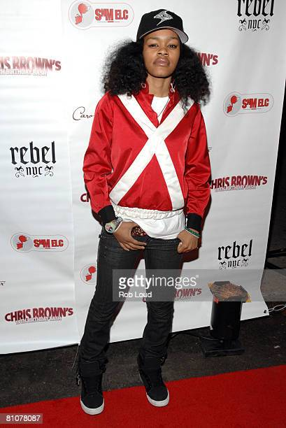 Teyana Taylor poses at Chris Brown's 19th birthday bash hosted by Carol's Daughter at Rebel on May 13 2008 in New York City
