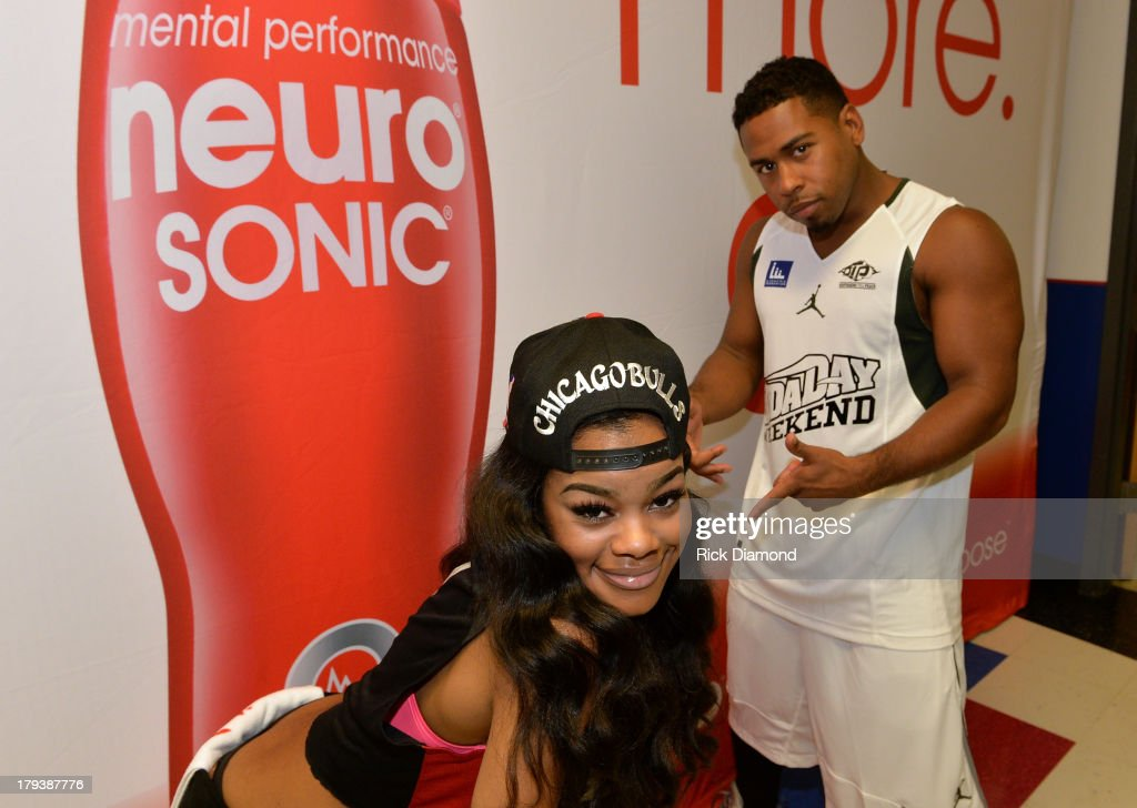 Teyana Taylor Recording artist/actress and Singer/Songwriter Bobby Valentino during Neuro Drinks At LudaDay Weekend Celebrity Basketball Game at GSU Sports Arena on September 1, 2013 in Atlanta, Georgia.
