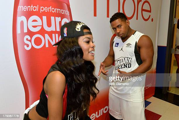 Teyana Taylor Recording artist/actress and Singer/Songwriter Bobby Valentino during Neuro Drinks At LudaDay Weekend Celebrity Basketball Game at GSU...