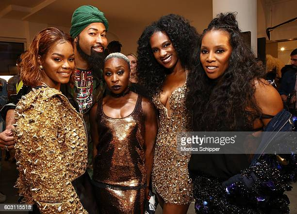 Teyana Taylor Ty Hunter Cynthia Erivo Vicky Jeudy and June Ambrose pose for a photo backstage at The Blonds fashion show during MADE Fashion Week...
