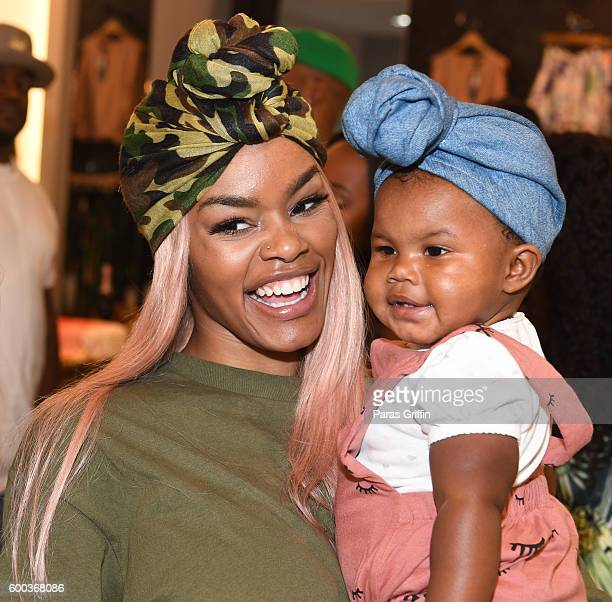 Teyana Taylor with her daughter Iman Tayla Junie Shumpert Jr Baby Buddha Bug Collection Hosted By Teyana Taylor Iman Shumpert at Pressed on September...