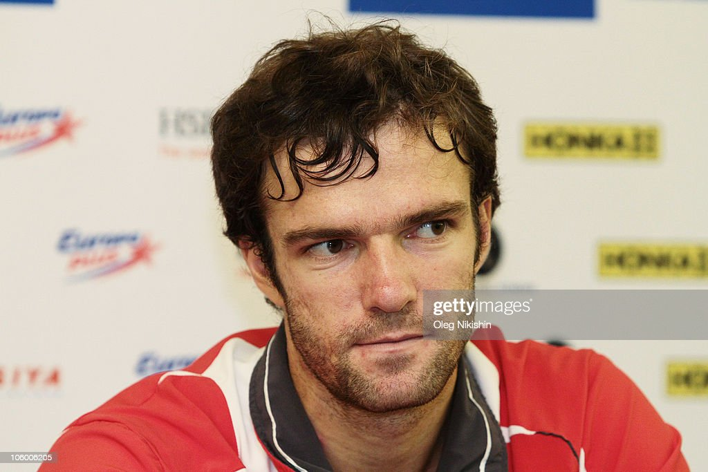 Teymuraz Gabashvili of Russia attends a press conference during day two of the International Tennis Tournamen St. Petersburg Open 2010 at the Sports Complex Petersburgsky on October 25, 2010 in St.Petersburg, Russia.