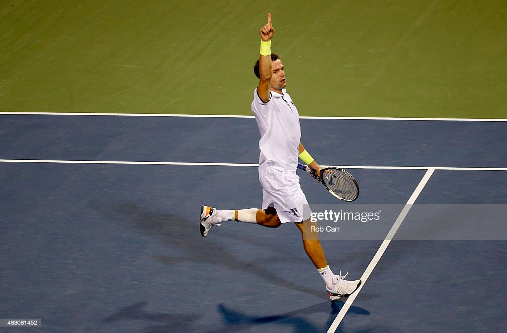 Teymuraz Gabashvili of Russia celebrates after defeating Andy Murray of Great Britain in three sets during their singles match at Rock Creek Tennis Center on August 5, 2015 in Washington, DC.