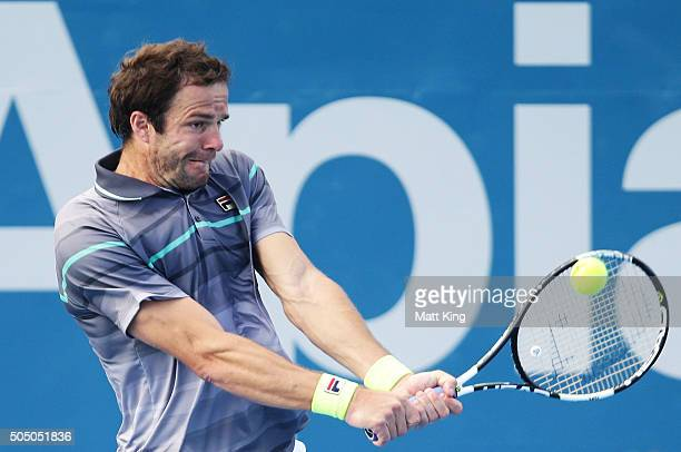 Teymuraz Gabashvili of Russia plays a backhand in his semi final match against Viktor Troicki of Serbia during day six of the 2016 Sydney...