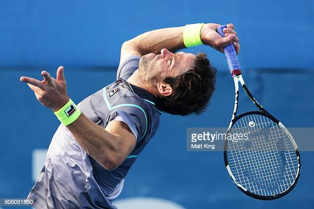 Teymuraz Gabashvili of Russia serves in his semi final match against Viktor Troicki of Serbia during day six of the 2016 Sydney International at...