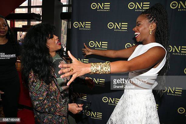 Teyonah Parris and Miki Howard at Love Under New Management The Miki Howard Story at AMC Empire on June 7 2016 in New York City