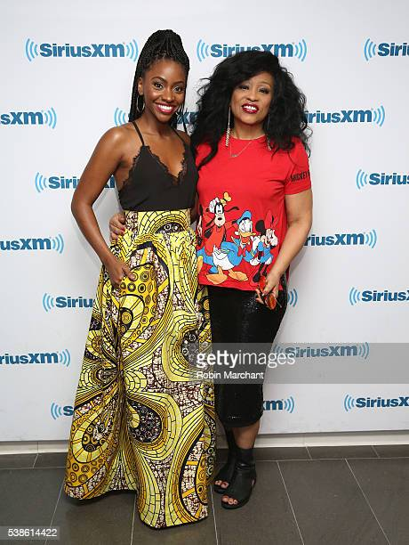 Teyonah Parris and Miki Howard visit at SiriusXM Studio on June 7 2016 in New York City