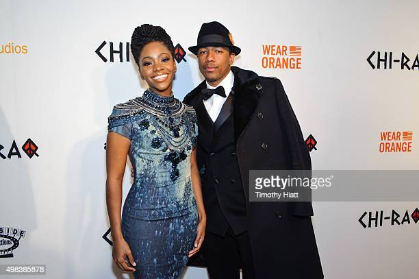 Teyonah Parris and Nick Cannon attend the world premiere of 'ChiRaq' at The Chicago Theatre on November 22 2015 in Chicago Illinois