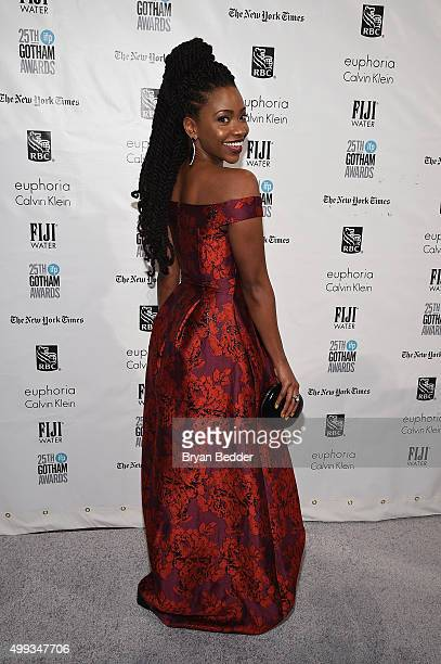 Teyonah Parris attends the 25th IFP Gotham Independent Film Awards cosponsored by FIJI Water at Cipriani Wall Street on November 30 2015 in New York...