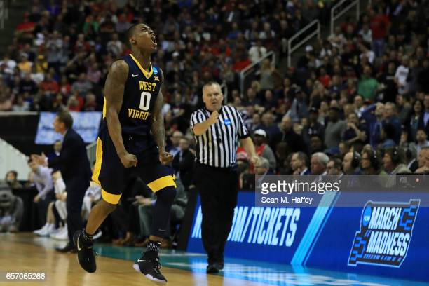 Teyvon Myers of the West Virginia Mountaineers reacts in the second half against the Gonzaga Bulldogs during the 2017 NCAA Men's Basketball...