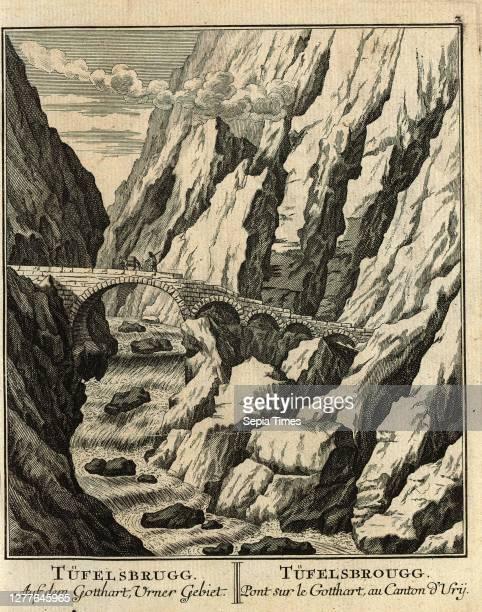 Tüfelsbrugg, Devil's Bridge, parallel title: Tüfelsbrugg, etching, day. After p. 54 Joh. Georg Sulzers Beschreibung einiger Merckwürdigkeiten, welche...