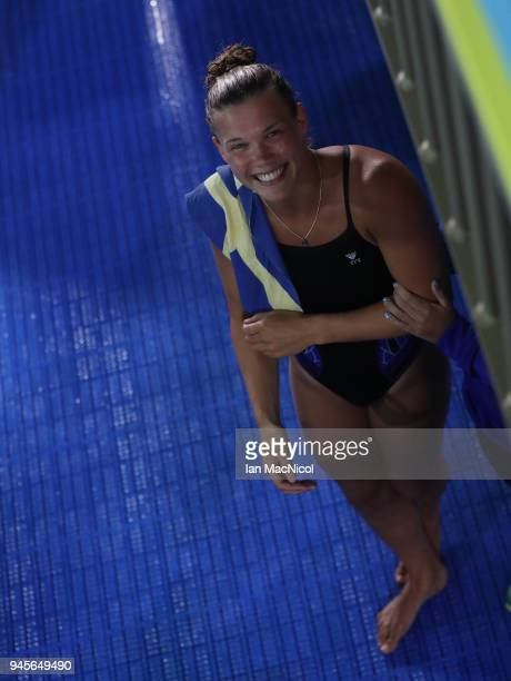 TGrace Reid of Scotland is seen after winning the Women's 1m Springboard final during Diving on day nine of the Gold Coast 2018 Commonwealth Games at...