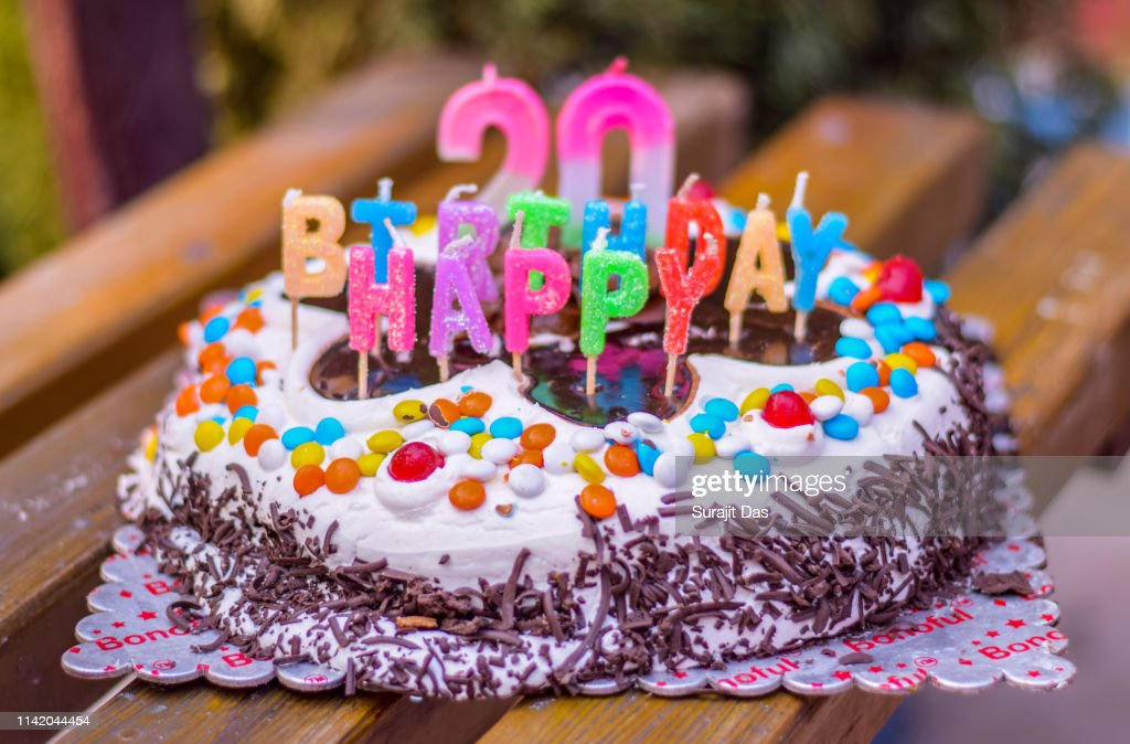 Admirable 20 Th Chocolate Birthday Cake With Candles High Res Stock Photo Funny Birthday Cards Online Chimdamsfinfo