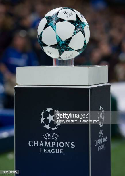 Th match ball on display before the UEFA Champions League group C match between Chelsea FC and AS Roma at Stamford Bridge on October 18 2017 in...