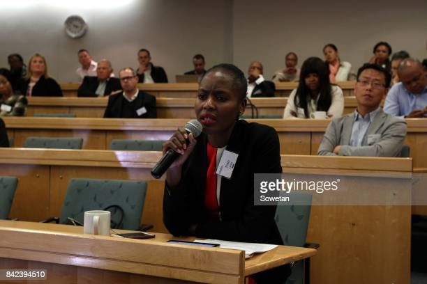 Thabi Leoka poses a question to Nkosazana DlaminiZuma during the Gordon Institute of Business Science forum in Illovo on August 29 2017 in...