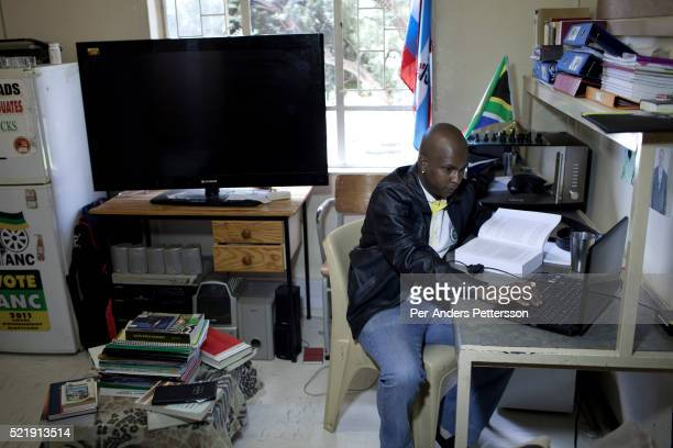 Thabiso Litsoara in his single room at the University of the Free State in Bloemfontein South Africa He is very involved in politics and ANC youth...