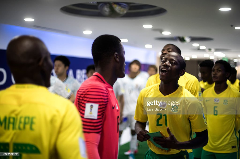 Thabo Cele of South Africa sings with team mates in the tunnel prior to the FIFA U-20 World Cup Korea Republic 2017 group D match between South Africa and Japan at Suwon World Cup Stadium on May 21, 2017 in Suwon, South Korea.