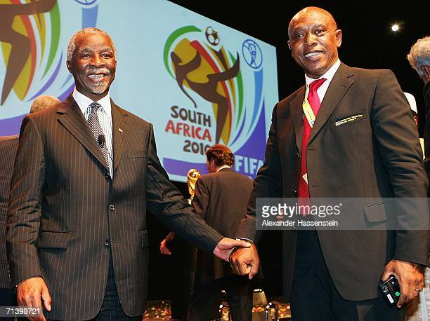 Thabo Mbeki President of the Republic of South Africa poses with Tokyo Sexwale a LOC member of the World Cup South Africa 2010 committee after the...