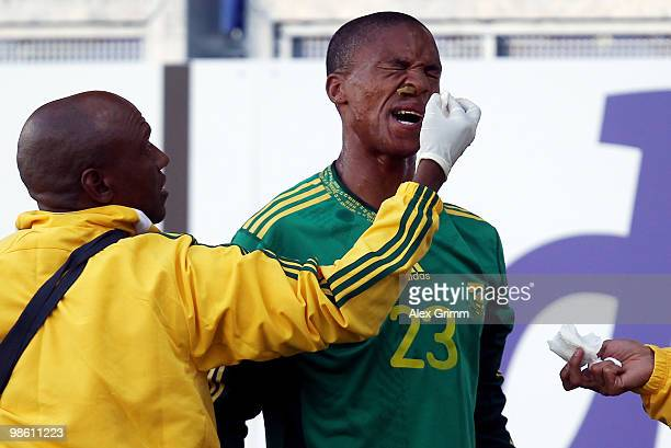Thabo Nthe The of South Africa receives treatment during the international friendly match between South Africa and North Korea at the Brita arena on...