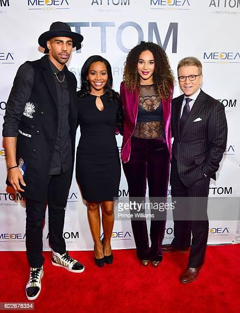 Thabo Sefolosha Cynne Simpson Bertille Sefolosha and Tom Haynes attend the ATTOM Atlanta Store Private Opening on November 11 2016 in Atlanta Georgia