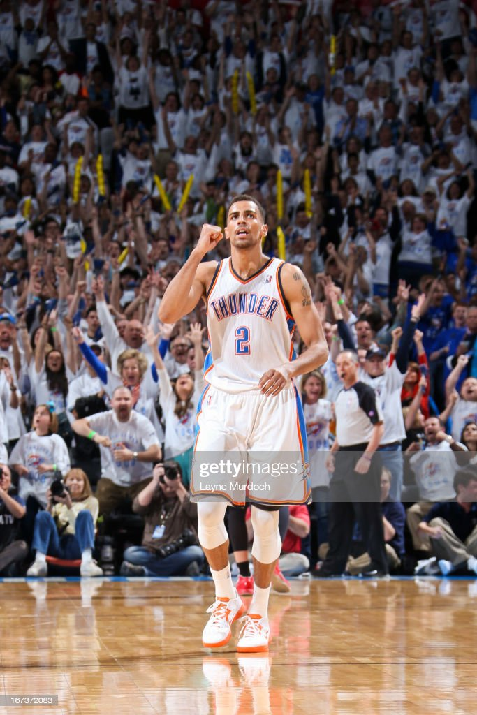 Thabo Sefolosha #2 of the Oklahoma City Thunder celebrates after making a three-pointer late in the fourth quarter against the Houston Rockets in Game Two of the Western Conference Quarterfinals during the 2013 NBA Playoffs on April 24, 2013 at the Chesapeake Energy Arena in Oklahoma City, Oklahoma.