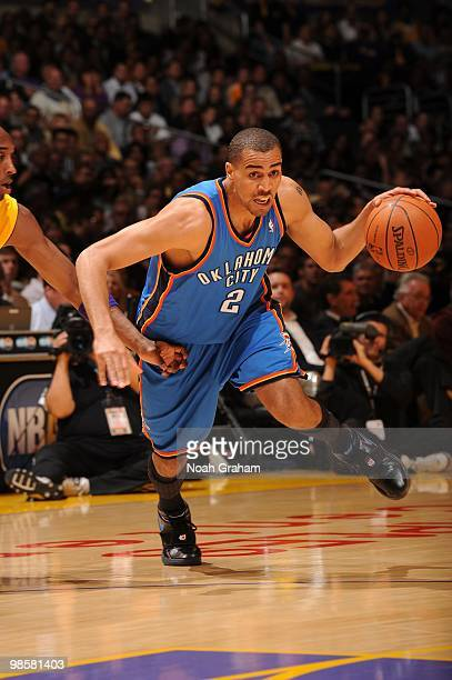 Thabo Sefolosha of the Oklahoma City Thunder dribbles against the Los Angeles Lakers in Game Two of the Western Conference Quarterfinals during the...