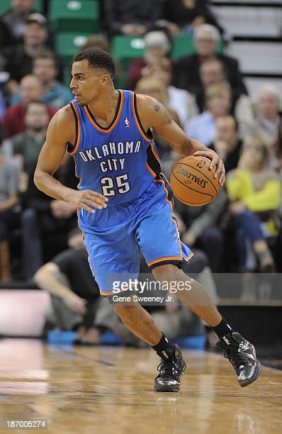 Thabo Sefolosha of the Oklahoma City Thunder dribbles down court during their game against the Utah Jazz at EnergySolutions Arena October 30 2013 in...
