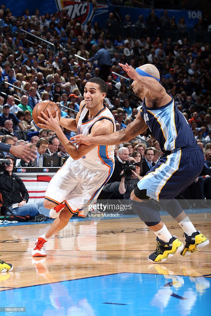 Thabo Sefolosha #2 of the Oklahoma City Thunder dribbles to the basket against the Memphis Grizzlies during an NBA game on January 31, 2013 at the Chesapeake Energy Arena in Oklahoma City, Oklahoma.