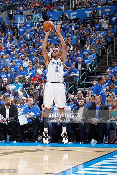 Thabo Sefolosha of the Oklahoma City Thunder makes a jumpshot against Los Angeles Lakers in Game Three of the Western Conference Quarterfinals during...