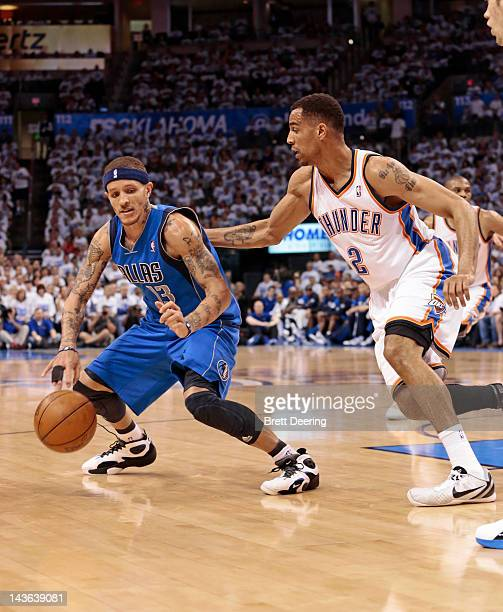 Thabo Sefolosha of the Oklahoma City Thunder pressures Delonte West of the Dallas Mavericks in Game Two of the Western Conference Quarterfinals in...