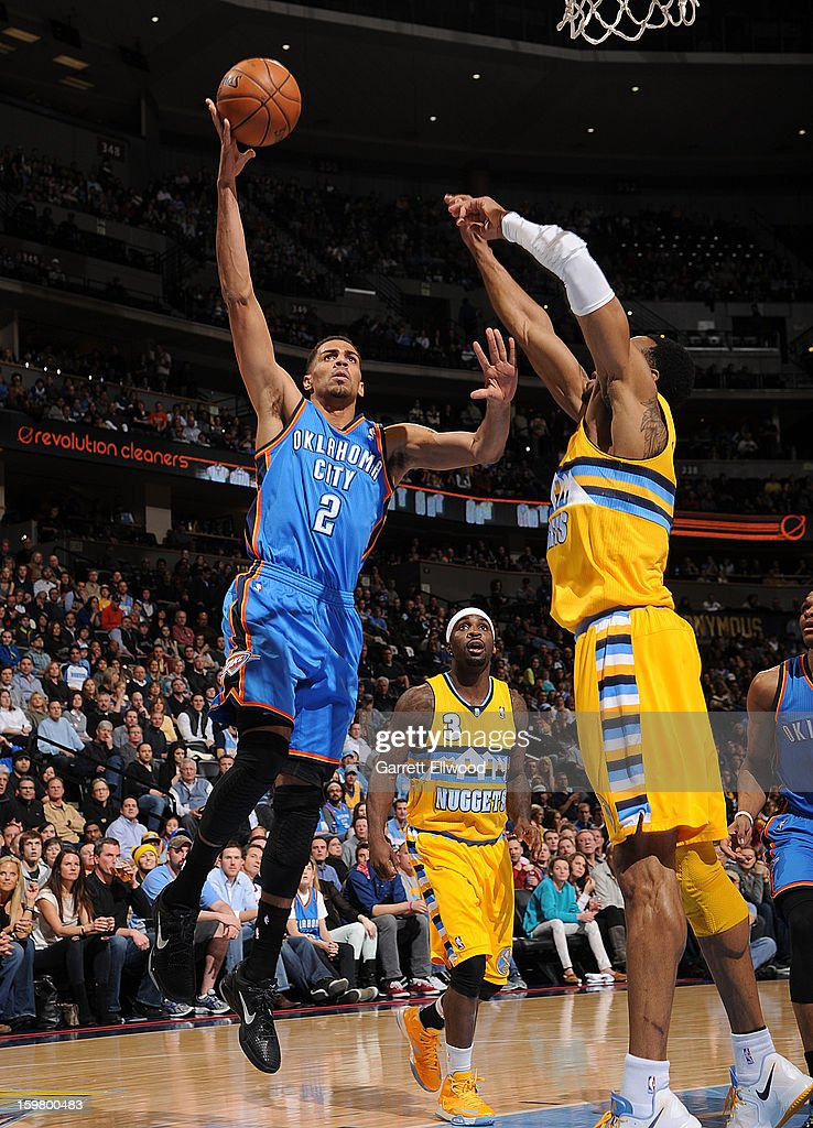 Thabo Sefolosha #2 of the Oklahoma City Thunder shoots against the Denver Nuggets on January 20, 2013 at the Pepsi Center in Denver, Colorado.