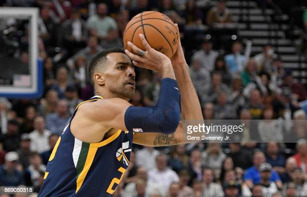 Thabo Sefolosha of the Utah Jazz prepares to shoot the ball during their game against the Dallas Mavericks at Vivint Smart Home Arena on October 30...