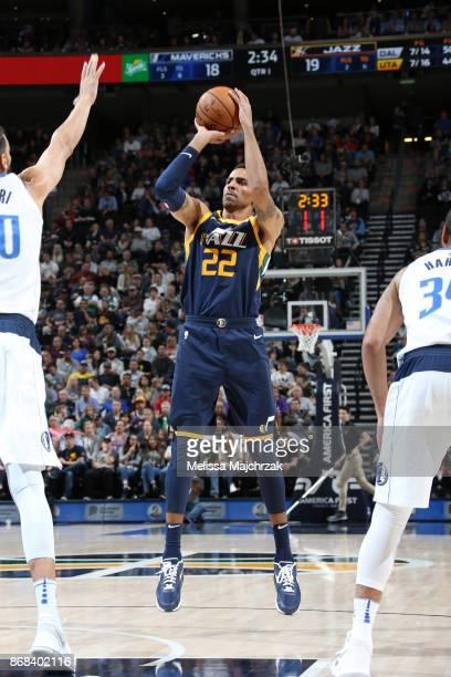 Thabo Sefolosha of the Utah Jazz shoots the ball against the Dallas Mavericks on October 30 2017 at Vivint Smart Home Arena in Salt Lake City Utah...