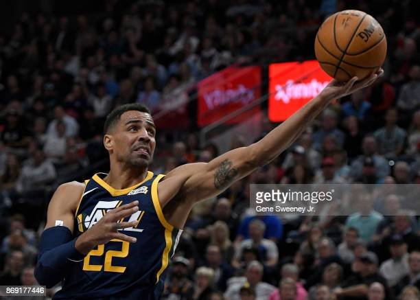 Thabo Sefolosha of the Utah Jazz tries for the layup in the first half against the Portland Trail Blazers at Vivint Smart Home Arena on November 01...