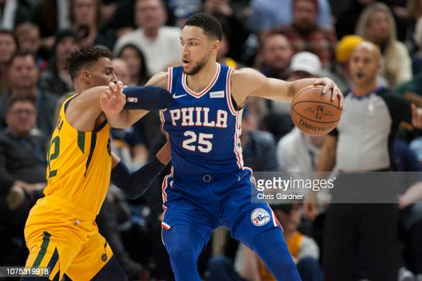 Thabo Sefolosha of the Utah Jazz tries to guard Ben Simmons of the Philadelphia 76ers during their game at the Vivint Smart Home Arena on December 27...