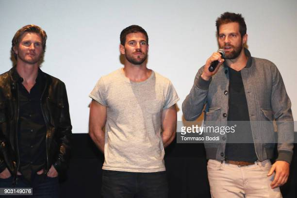 Thad Luckenbill Austin Stowell and Geoff Stults attend the Special Screening Of '12 Strong' For MVP's Military Veterans at ArcLight Hollywood on...