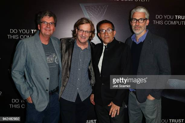 Thad Wadleigh Chris Paine Paul Crowder and Mark Monroe attend the 'Do You Trust This Computer' premiere at Regency Village Theatre on April 5 2018 in...