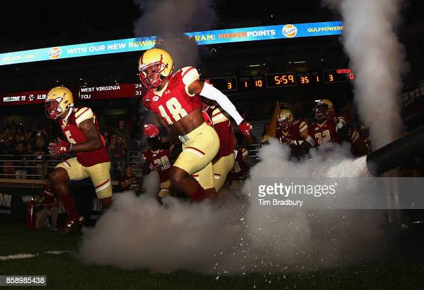 Thadd Smith of the Boston College Eagles runs onto the field before the game against the Virginia Tech Hokies at Alumni Stadium on October 7 2017 in...