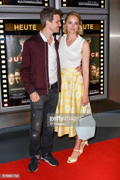 Thaddaeus Meilinger and Anne-Catrin Maerzke attend the premiere of 'Justice' at the cinema in the Kulturbrauerei on June 13, 2018 in Berlin, Germany.