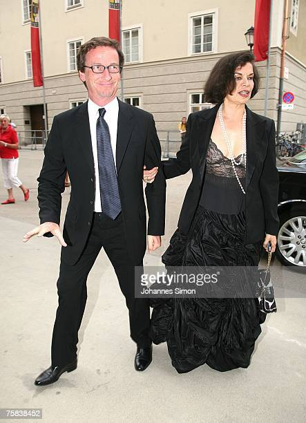 Thaddaeus Ropac and Bianca Jagger arrive for the opening concert of Salzburg summer festival on July 27 2007 in Salzburg Austria