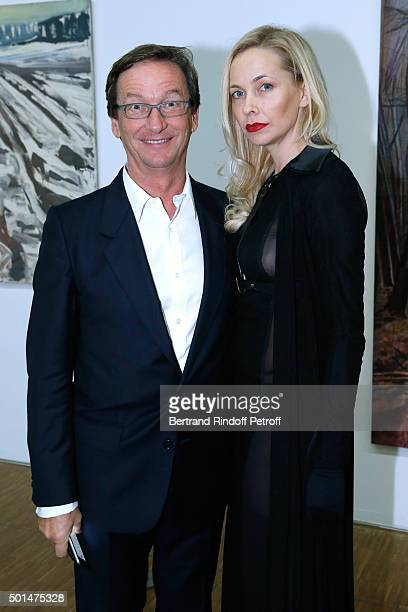 Thaddaeus Ropac and Melonie FosterHennessy attend the Anselm Kiefer's Exhibition Press Preview held at Centre Pompidou on December 15 2015 in Paris...