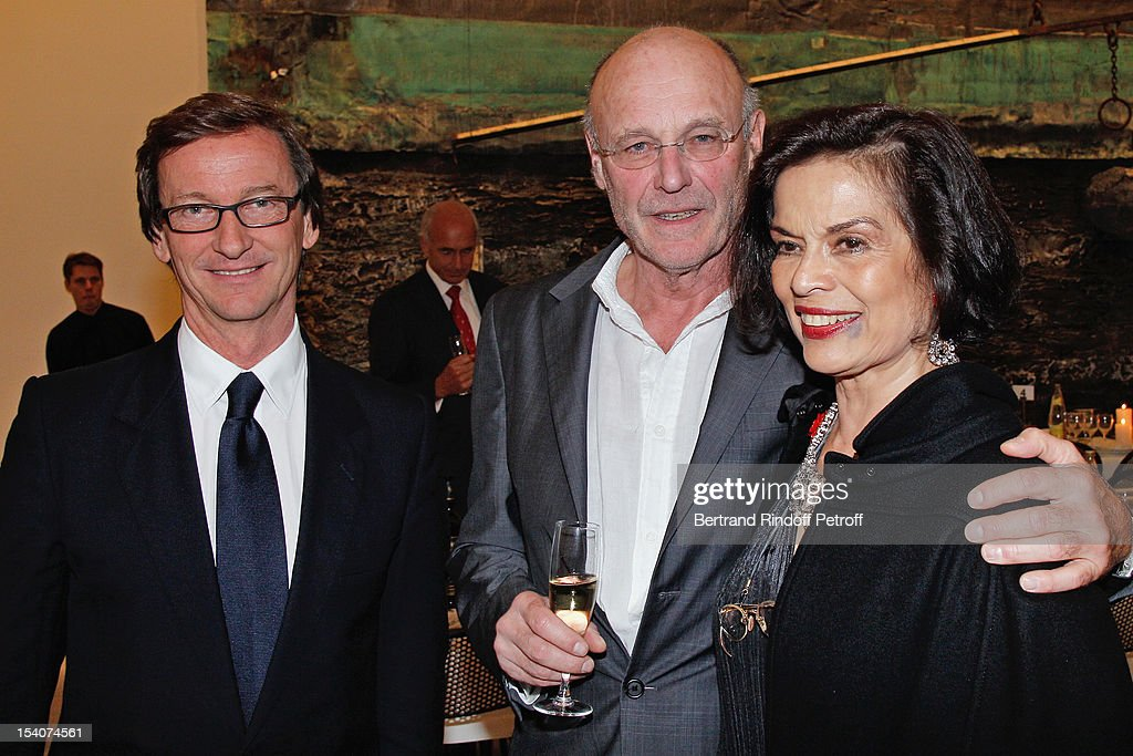 Thaddaeus Ropac, artist Anselm Kiefer and Bianca Jagger attend the opening of Thaddaeus Ropac's new gallery on October 13, 2012 in Pantin, France.