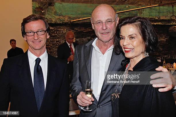 Thaddaeus Ropac artist Anselm Kiefer and Bianca Jagger attend the opening of Thaddaeus Ropac's new gallery on October 13 2012 in Pantin France
