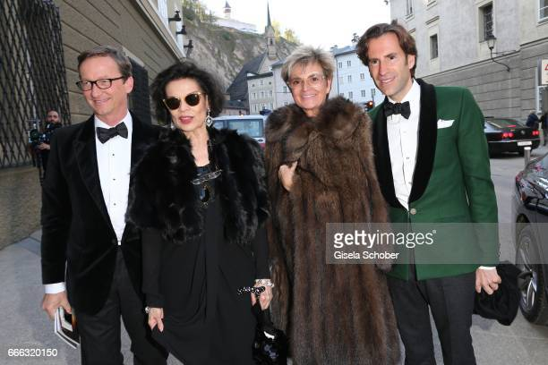 Thaddaeus Ropac Bianca Jagger and Gloria von Thurn und Taxis and Pierre Pelegry during the opening of the Easter Festival 2017 'Walkuere' opera...