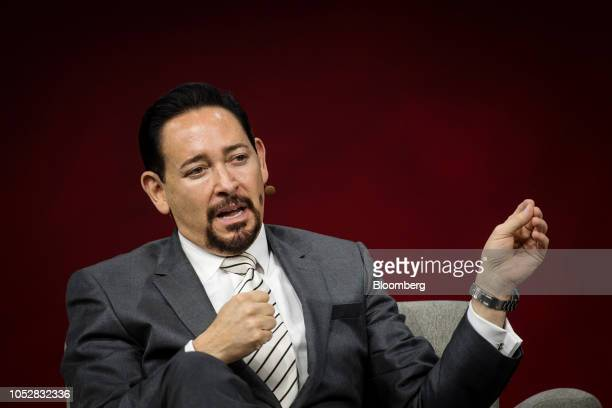 Thaddeus Arroyo chief executive officer of business solutions and international at ATT Inc speaks during the Oracle OpenWorld 2018 conference in San...